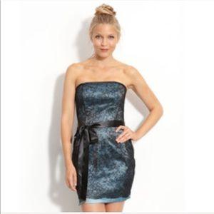 Jessica McClintock Teal Lace Mini Dress
